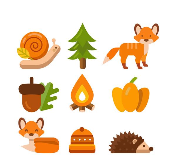 蜗牛,树木,松树,狐狸,南瓜,火焰,篝火,橡子,刺猬,帽子,树叶,秋季,森林图片