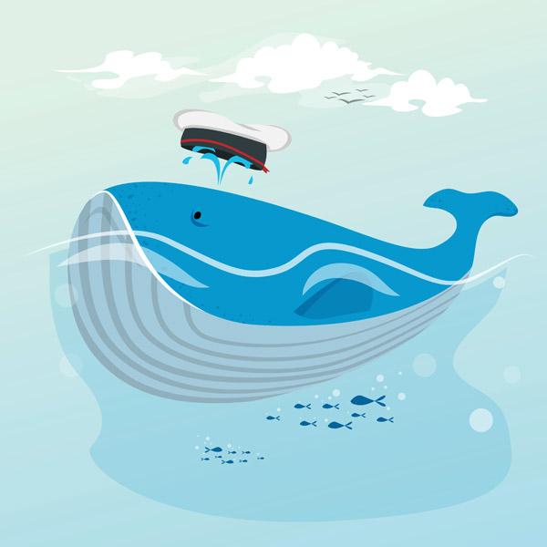 卡通可爱鲸鱼