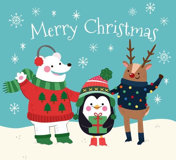 christmas,彩绘,圣诞节,雪地,白熊,企鹅,驯鹿,雪花,礼物,礼盒,矢量图