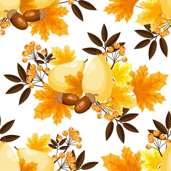 秋季花卉无缝图案