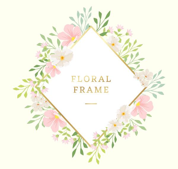 花卉装饰菱形框架