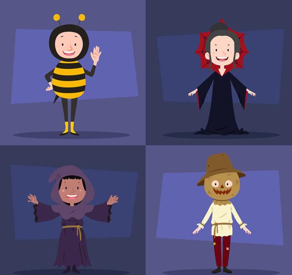 0 点 关键词: 4款创意微笑万圣节装扮人物矢量图,蜜蜂,巫婆,巫师