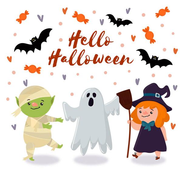 糖果,蝙蝠,科学怪人,幽灵,女巫,爱心,卡通,万圣节,角色,矢量图,ai格式