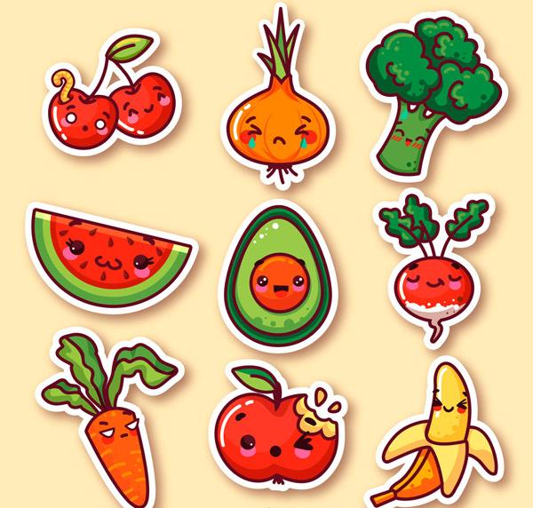 西瓜,牛油果,萝卜,胡萝卜,苹果,香蕉,笑脸,害羞,哭泣,情绪,可爱,表情