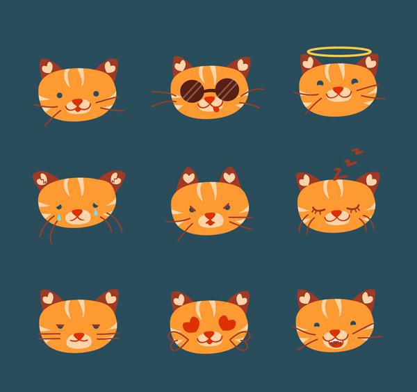 关键词: 9款可爱橘色猫咪表情头像矢量素材,笑,爱心,耍酷,天使,生气