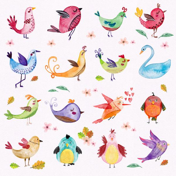 素材分类: 矢量卡通动物所需点数: 0 点 关键词: 水彩卡通鸟,水彩,鸟