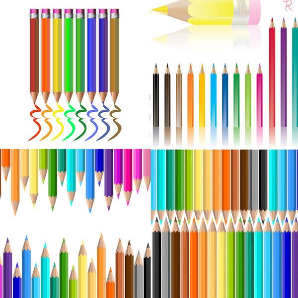 多彩铅笔设计矢量