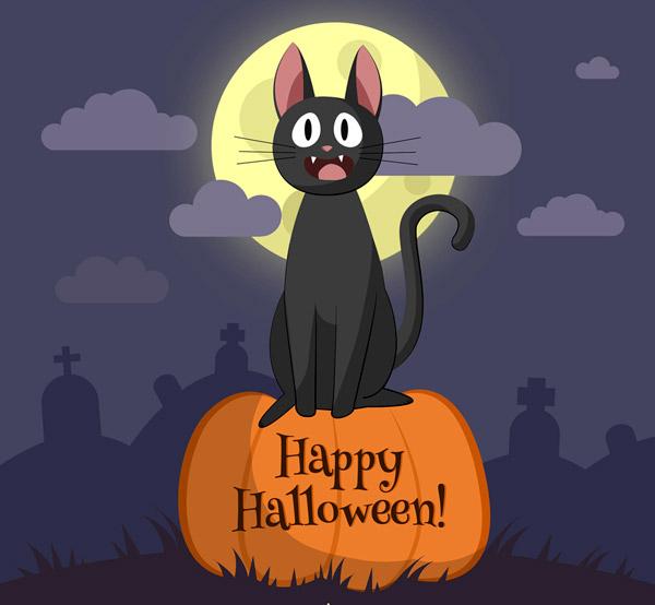 素材分类: 矢量万圣节所需点数: 0 点 关键词: 可爱万圣节夜晚黑猫