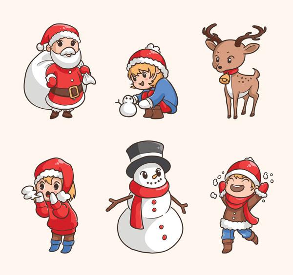 素材分类: 圣诞节所需点数: 0 点 关键词: 6款可爱圣诞角色设计矢量