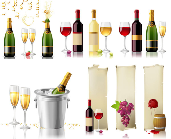 Wine glasses and wine vector material