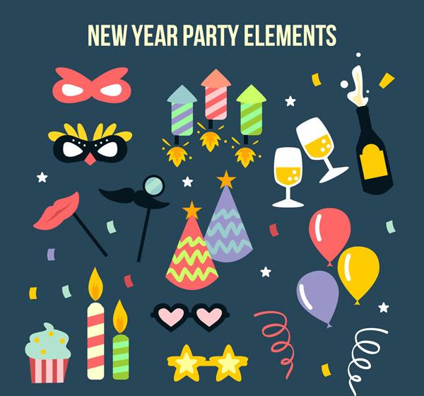 矢量圣诞节所需点数: 0 点 关键词: 22款彩色新年派对元素矢量图