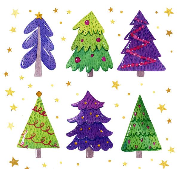 手绘彩色圣诞树
