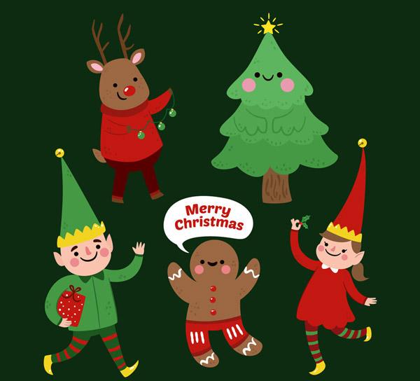 驯鹿,圣诞树,精灵,男子,女子,姜饼人,语言气泡,可爱,圣诞节,角色,矢量