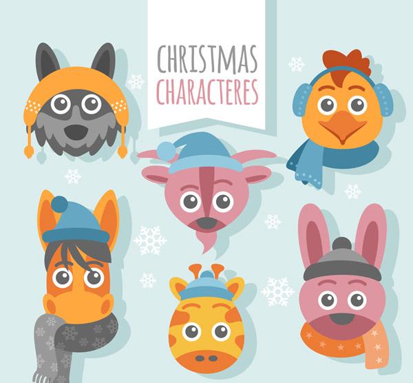 素材分类: 矢量圣诞节所需点数: 0 点 关键词: 6款创意圣诞动物头像