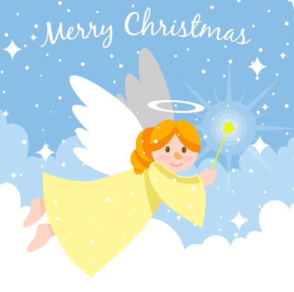 点 关键词: 可爱云中的圣诞天使矢量素材,雪花,merry,christmas,可爱