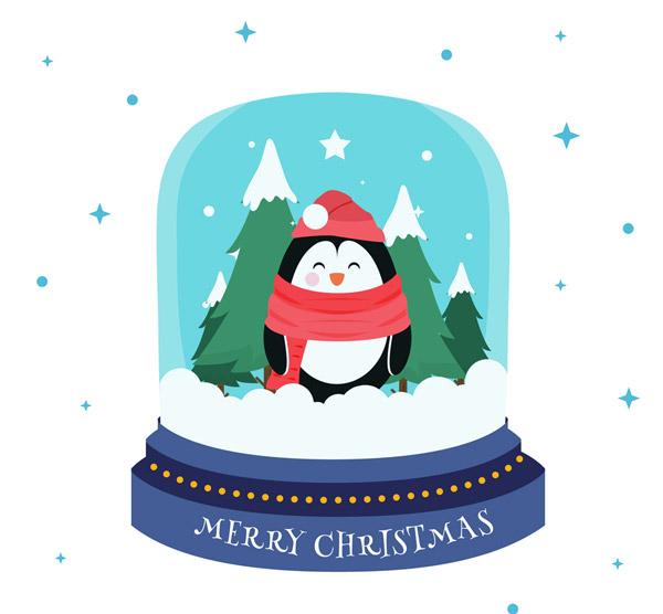 企鹅雪花水晶球图片