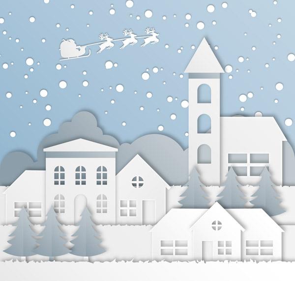 圣诞小城剪贴画