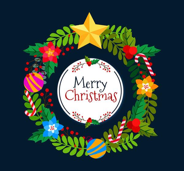 花卉,拐棍糖,枸骨,圣诞吊球,merry,christmas,彩色,圣诞节,花环,矢量