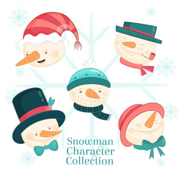 0 点 关键词: 5款可爱圣诞雪人头像矢量图,雪花,冬季,可爱,圣诞节