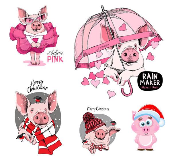 卡通粉红猪