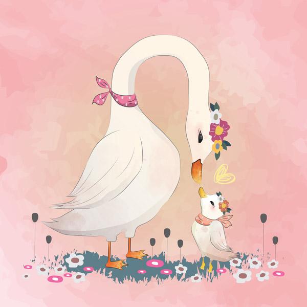 有爱的鹅插画
