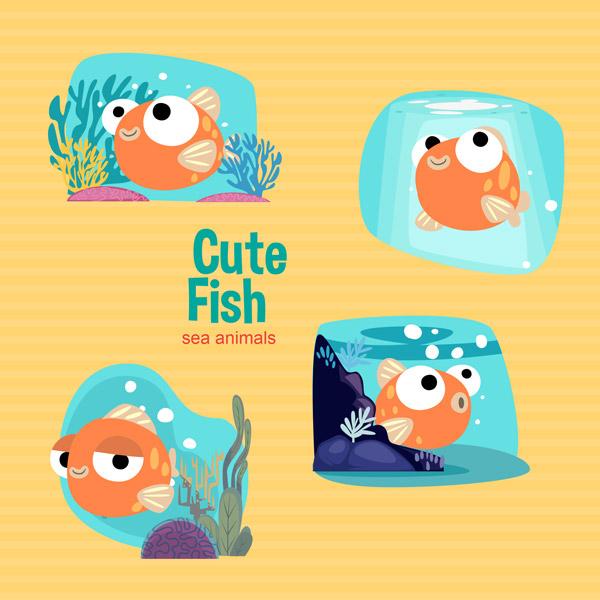 可爱的鱼矢量