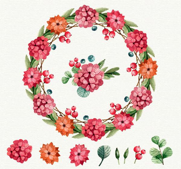 矢量圣诞节所需点数: 0 点 关键词: 彩绘圣诞节花环和8款花卉矢量图