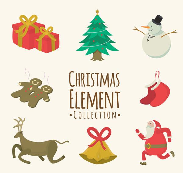 设计矢量素材,礼物,礼盒,圣诞树,松树,雪人,姜饼人,圣诞袜,驯鹿,铃铛
