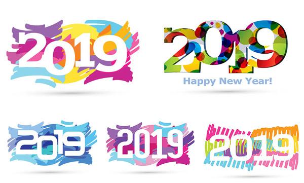 矢量素材,矢量图,设计素材,创意设计,缤纷,多彩,2019,数字,炫彩,eps