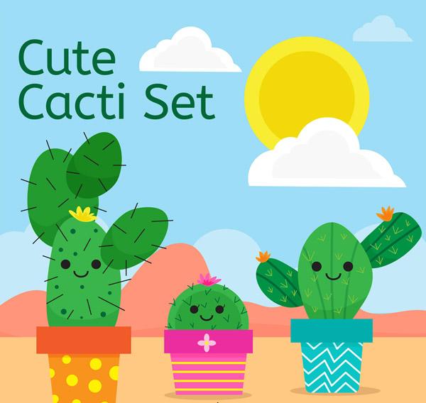 太阳,云朵,仙人球,笑脸,植物,沙漠,可爱,仙人掌,盆栽,矢量图,ai格式