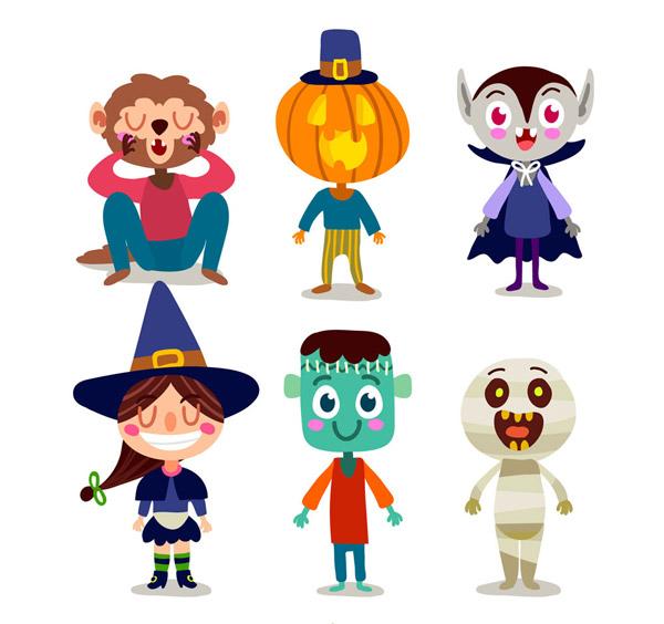 0 点 关键词: 6款可爱笑脸万圣节角色矢量素材,南瓜人,吸血鬼,女巫