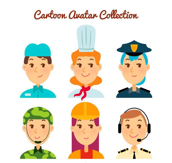 0 点 关键词: 6款彩色职业人物头像矢量素材,厨师,服务生,警察,军人