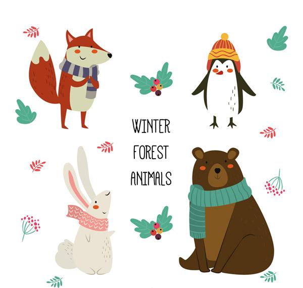 狐狸,浆果,企鹅,兔子,熊,花卉,树叶,可爱,冬季,围巾,森林,动物,矢量图