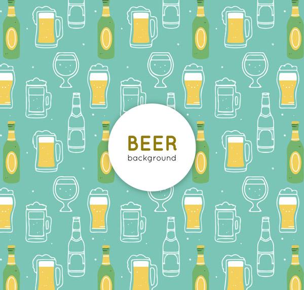 手绘啤酒无缝背景
