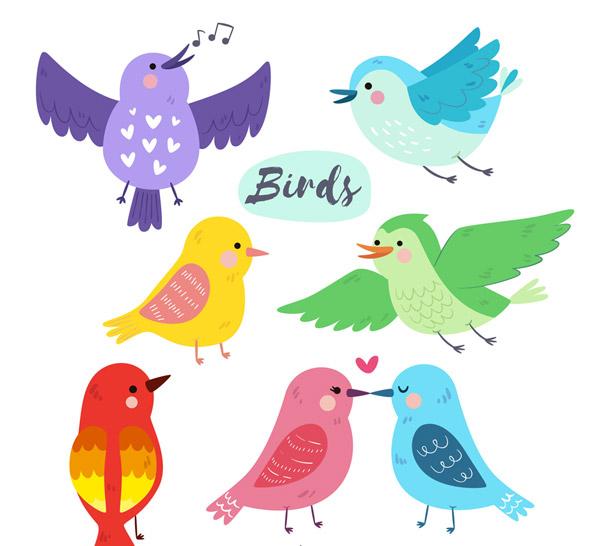 7款彩色可爱鸟类设计矢量图,彩色,鸟,可爱,动物,爱心,飞翔,亲吻,唱歌
