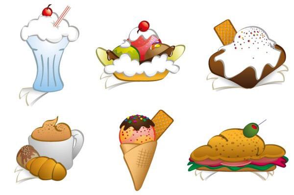 汉堡,冰淇淋,热狗,甜筒,樱桃,面包,咖啡,橄榄,奶油,香蕉船,甜点图片素