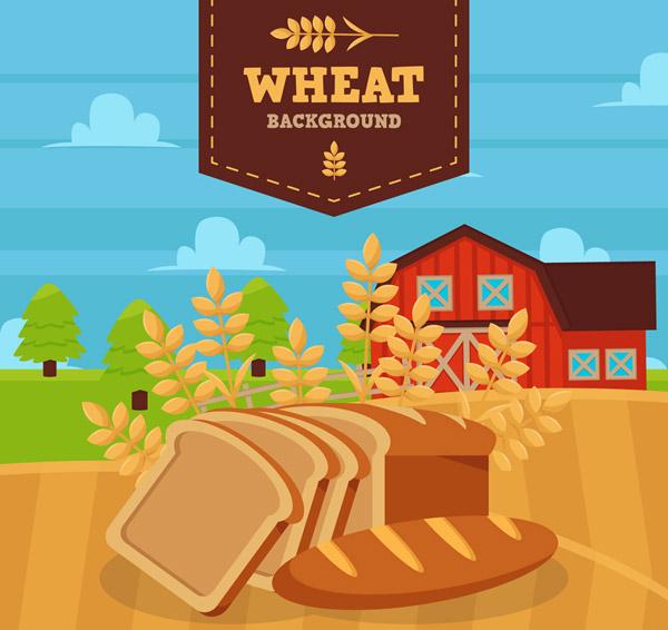 素材分类: 矢量美食所需点数: 0 点 关键词: 创意农场麦田和面包矢量