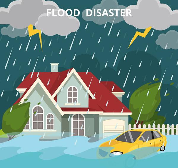 洪水灾害插画