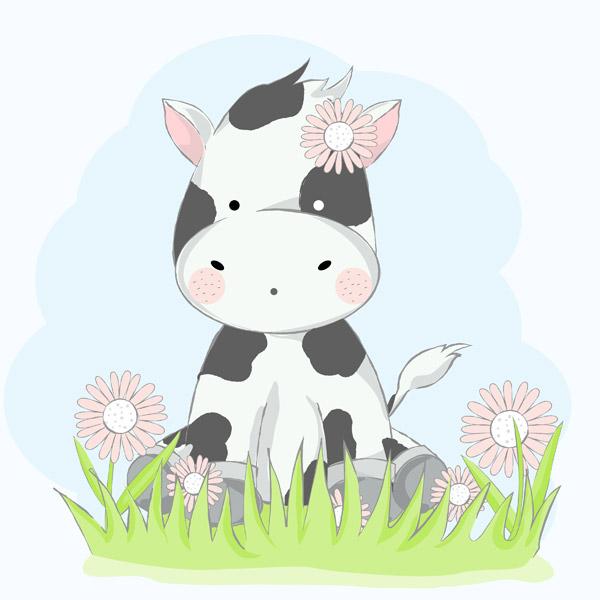 可爱卡通牛