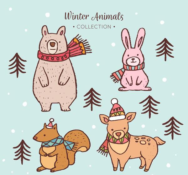 4款彩绘冬季动物设计矢量素材,熊,围巾,松树,兔子,松鼠,鹿,树木,彩绘