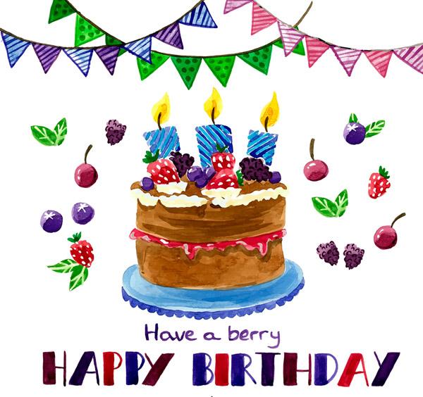水果生日蛋糕矢量素材,happy,birthday,水彩,水果,生日蛋糕,三角拉旗