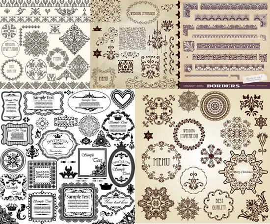 欧式经典花纹花边矢量素材,欧式花纹,经典花边,古典纹样,边框,边角,花纹样式图片素材,免费花纹EPS矢量素材下载