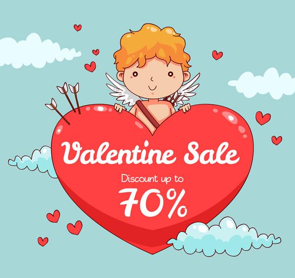 箭,云朵,销售,促销,可爱,丘比特,情人节,折扣,招贴画,矢量图,ai格式