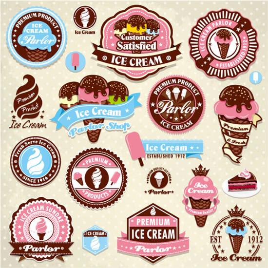 冰淇淋标签贴纸