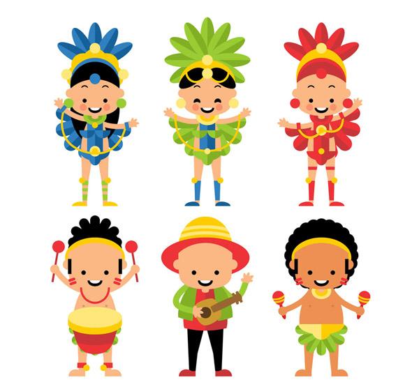 可爱,狂欢节,人物,女子,男子,乐器,鼓,吉他,沙锤,桑巴舞,矢量图,ai