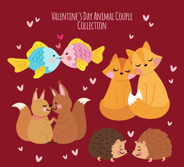 爱心,鱼,猫,松鼠,刺猬,彩绘,可爱,动物,情侣,矢量图,ai格式 下载文件