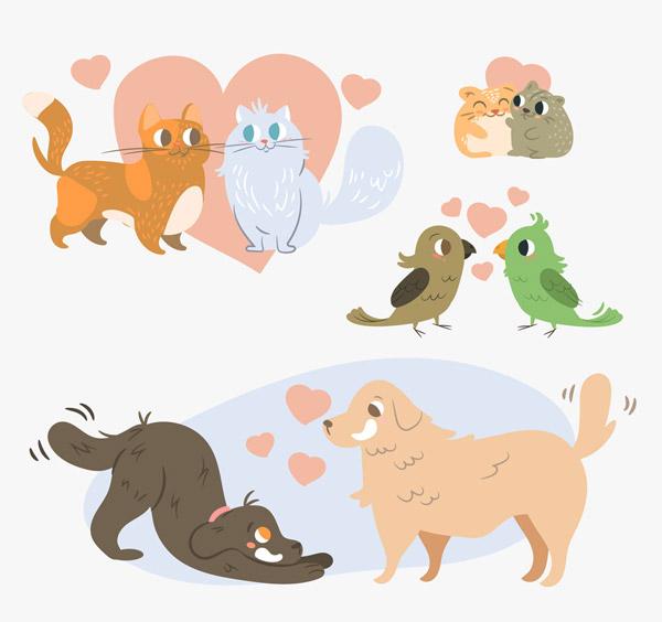 4对创意动物情侣设计矢量素材,爱心,猫咪,鸟,鹦鹉,狗,仓鼠,创意,动物