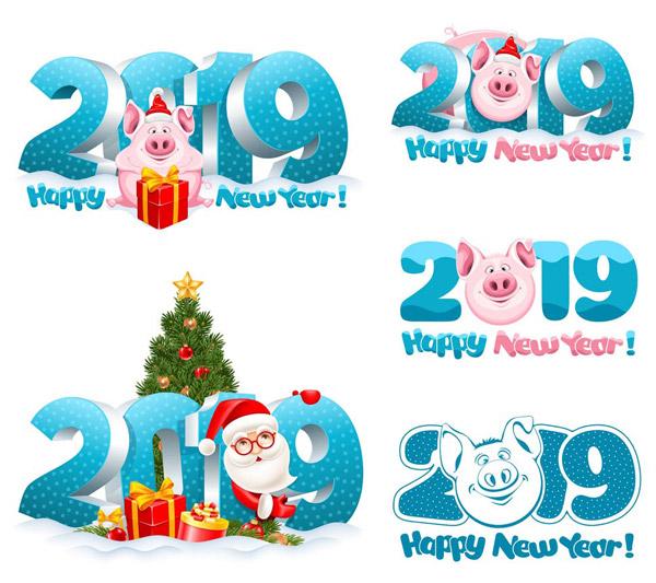 粉红猪与立体2019创意设计矢量素材下载,节日素材,圣诞节,2019,猪年