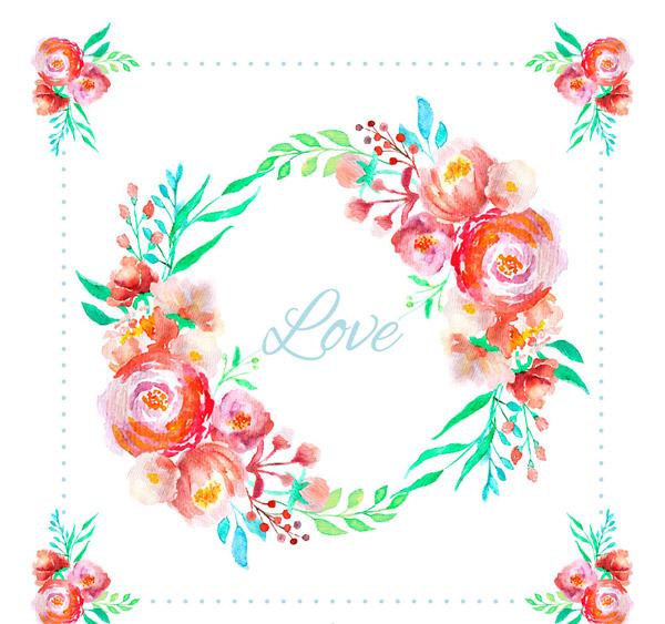 矢量花边所需点数: 0 点 关键词: 水彩绘玫瑰花环设计矢量素材,水彩
