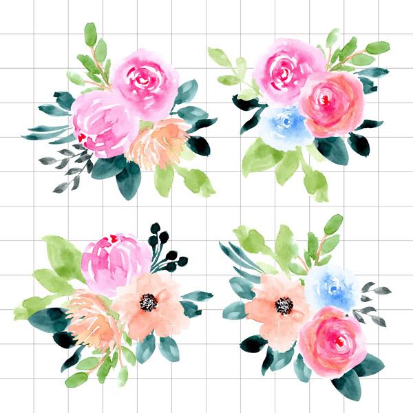 水彩绘玫瑰花